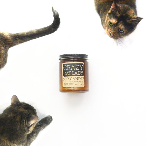 Crazy Cat Lady- Burlap Bag Soy Candle