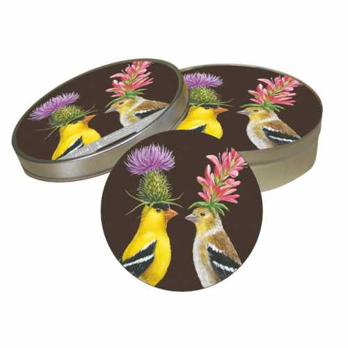 Goldfinch Couple Coaster Set