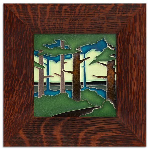 Pine Tree Landscape Tile Framed