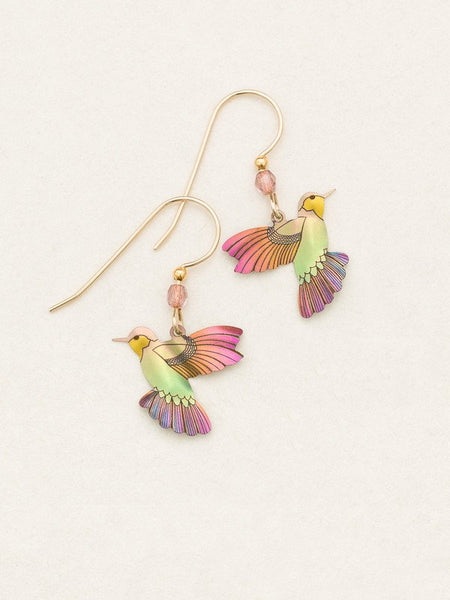 Living Coral Hummingbird Earrings