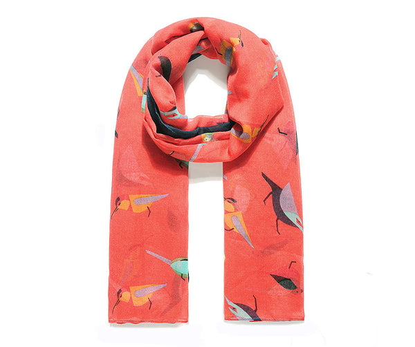 Coral Feathered Garden Friend Print Scarf