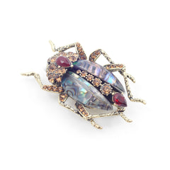 Jeweled Bug Statement Brooch