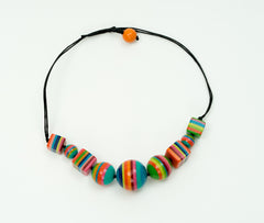Multicolor Round & Square Striped Necklace