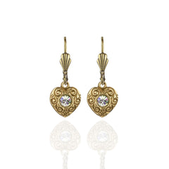 Brass Heart with Crystal Earrings