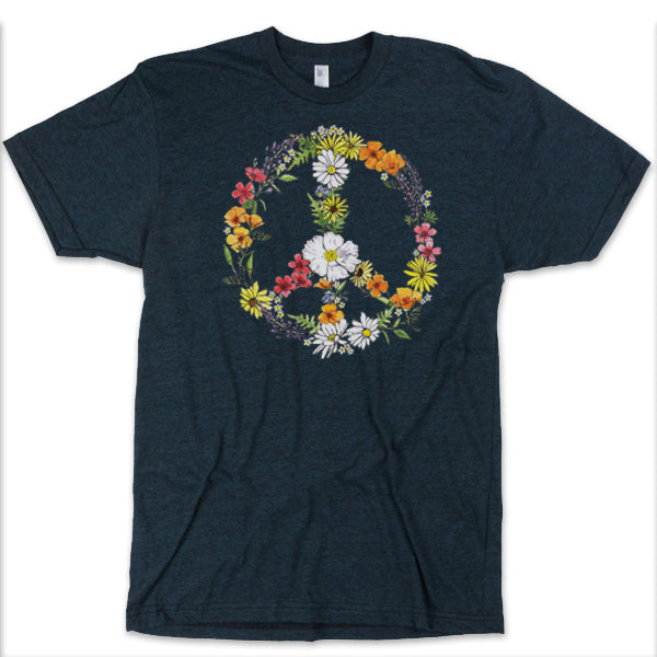 Floral Peace Sign Unisex Black Heather Tee