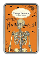 Halloween Glitter Vintage Postcards Tin