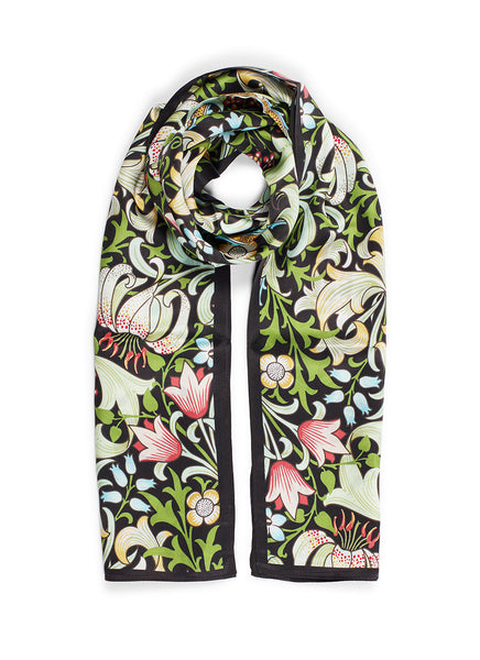 William Morris Golden Lily Silk Crepe Satin Scarf