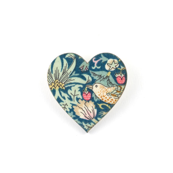 Heart Liberty Strawberry Thief Brooch