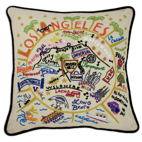 Hand-Embroidered Pillow: Los Angeles