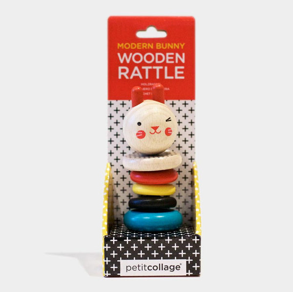 Modern Bunny: Wooden Rattle
