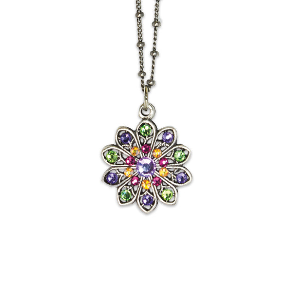 Green Yellow Purple Pink Floral Pendant Necklace