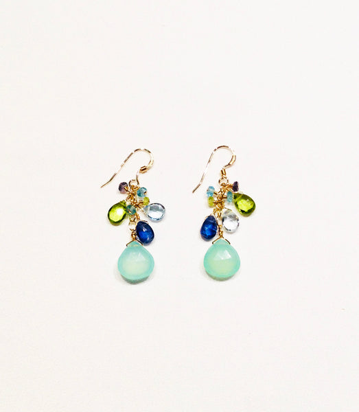 Blue Chalcedony & Topaz Earrings