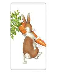Rabbit with Carrots Flour Sack Kitchen Towel