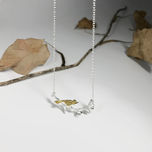 Early Bird with Worm Necklace