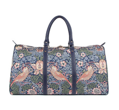 William Morris Red Strawberry Thief Blue Big Holdall
