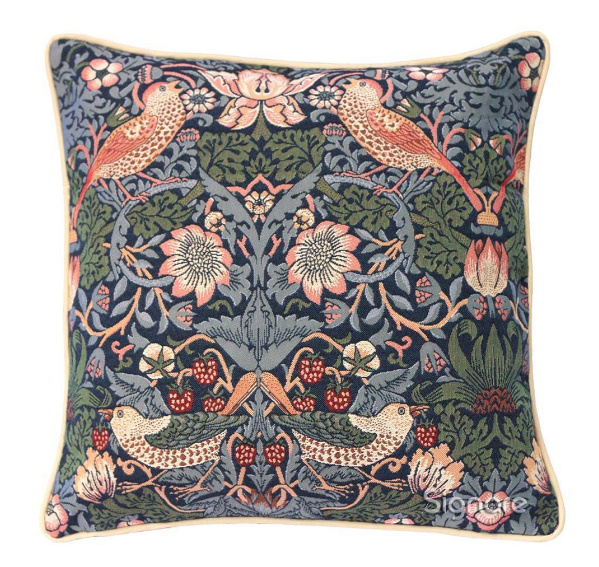 William Morris Strawberry Thief Blue Tapestry Pillow