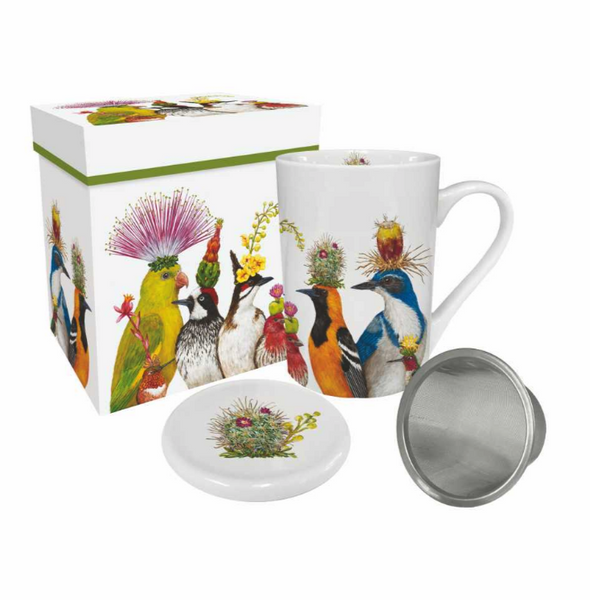 Vicki Sawyer Desert Party Gift Box Tea Mug with Lid and Strainer