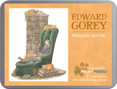 Edward Gorey's Bibliophile with Cats 100-Piece Puzzle