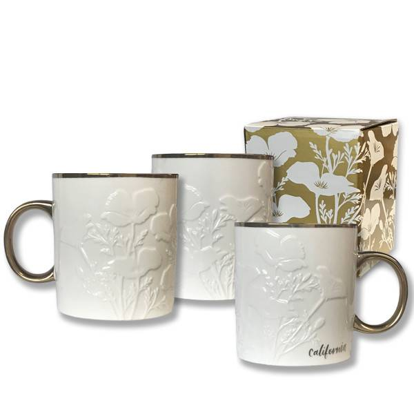 White Poppy with Gold Accents Mug
