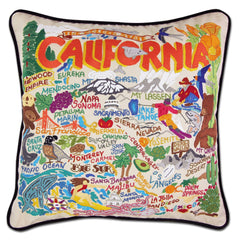 Hand-Embroidered Pillow: California