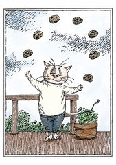 Edward Gorey: Cat Juggling Cookies Birthday Notecard