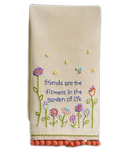 Friends Are Flowers Linen Hand Towel