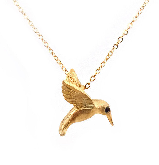 gold bird humming hummingbird pendant silver necklace pin
