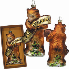 California Bear Hug Glass Ornament