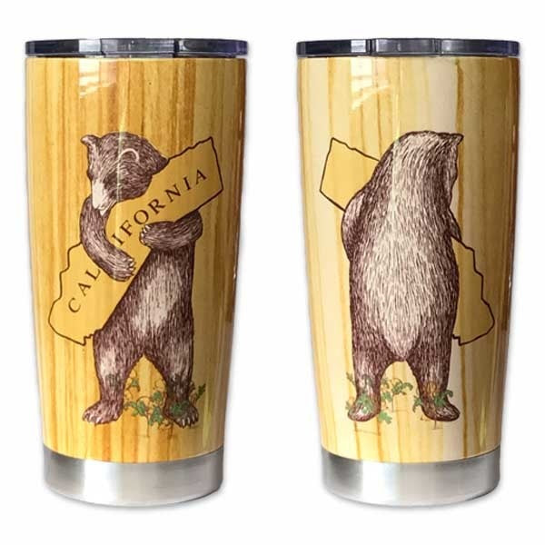 """I Love You California"" Bear Hug Wood Grain Travel Mug"