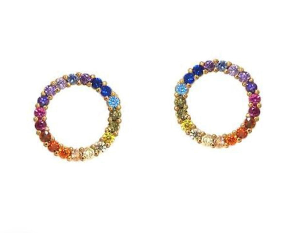Open Circle Rainbow Earrings