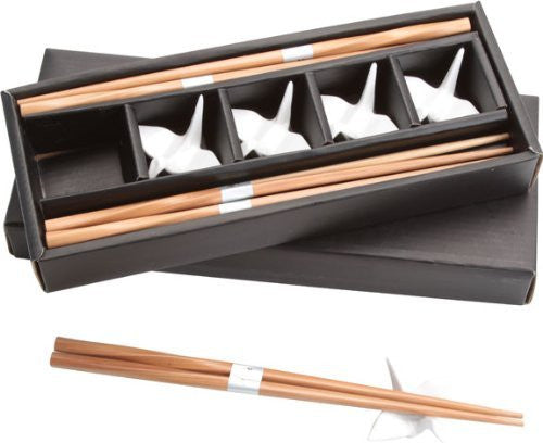 White Crane Chopstick Rest Set