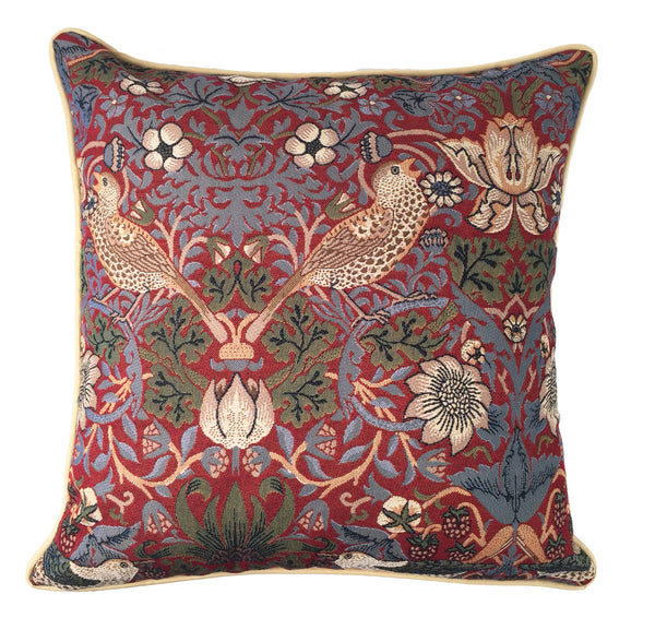 William Morris Strawberry Thief Tapestry Pillow