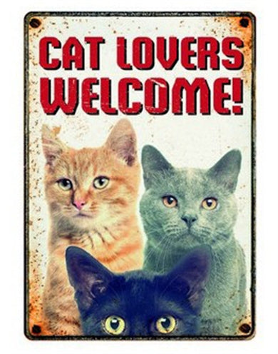Plenty gifts waakbord blik cat lovers welcome 15x21 cm