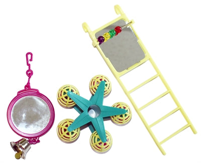 HAPPY PET BIRD TOY MP SPIEGEL/LADDER/CAROUSEL 20X9X4 CM