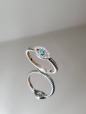 Evil Eye Aquamarine Ring - www.emmavera.com