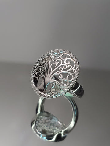 Mystical Tree Of Life Solid Sterling Silver Ring - www.emmavera.com