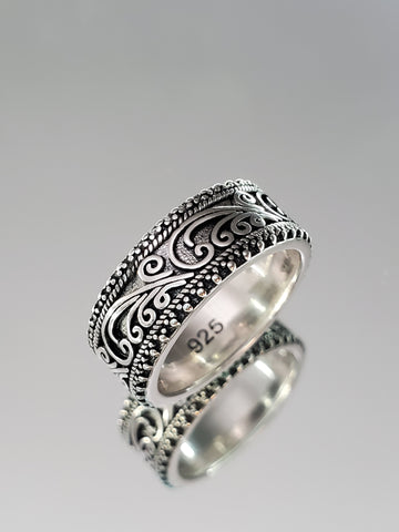 Sterling Silver Beaded Swirl Band - www.emmavera.com