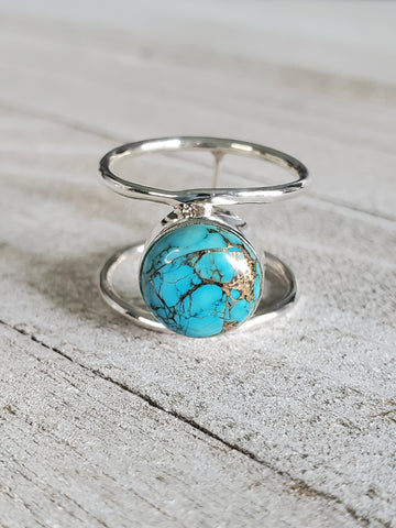 Round Turquoise Sterling Silver Boho Ring - www.emmavera.com