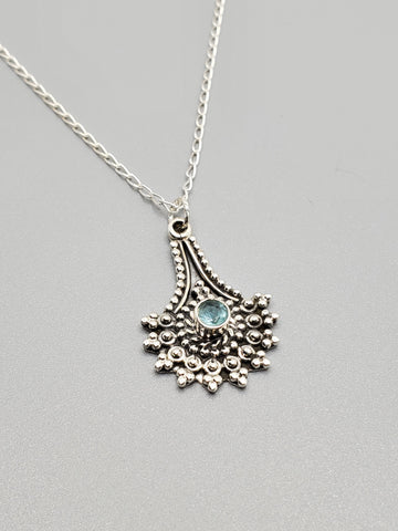 Blue Topaz Sterling Silver Necklace - www.emmavera.com