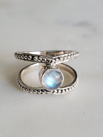 Bohemian Moonstone Sterling Silver Ring