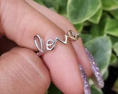 Letter Scripted Sterling Silver Love Ring - www.emmavera.com