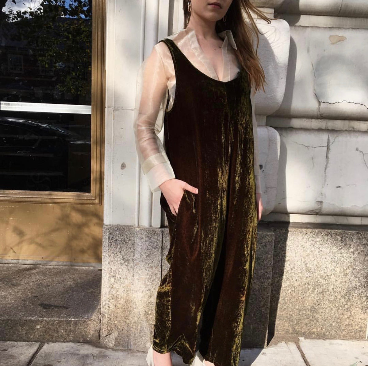 James Jumpsuit in Velvet Moss - riverside tool & dye