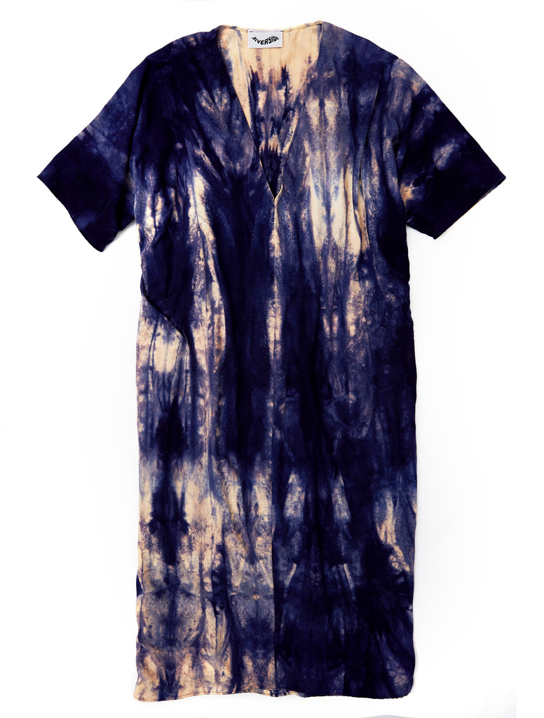Nico Dress in Navy Raw Silk