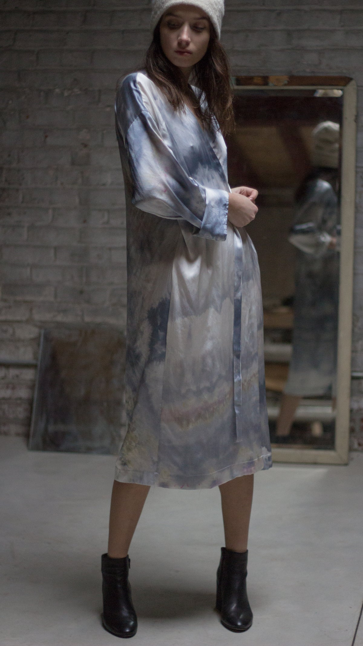 Kimono Dress in Silk Charmeuse - riverside tool & dye