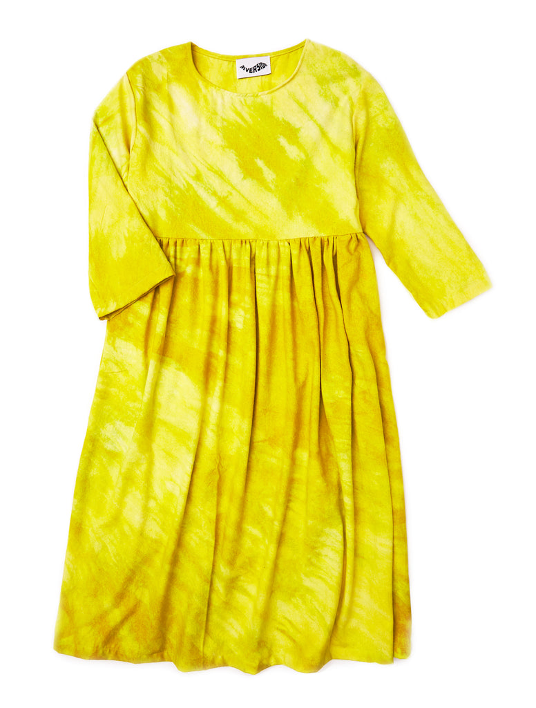 Agnes Dress in Wasabi Raw Silk