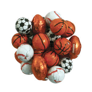 Chocolate Flavored Foiled Assorted Sports Balls 24.00Lb Case