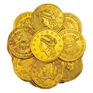 Madelaine Large Milk Chocolate Gold Foiled Coins 10.00Lb Case