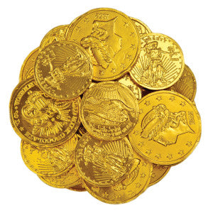 Madelaine Assorted Sizes Milk Chocolate Gold Foiled Coins 10.00Lb Case