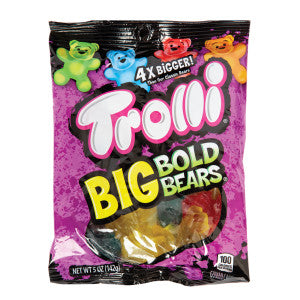 Trolli Gummy Big Bold Bears 5 Oz Peg Bag 12Ct Case