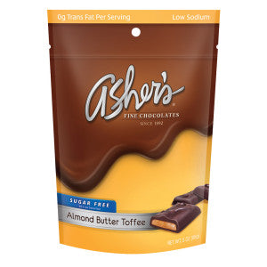 Asher'S Sugar Free Almond Butter Toffee 3 Oz Bag 12Ct Case